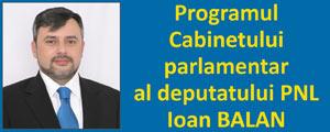Programul Cabinetului parlamentar al deputatului PNL Ioan Bălan